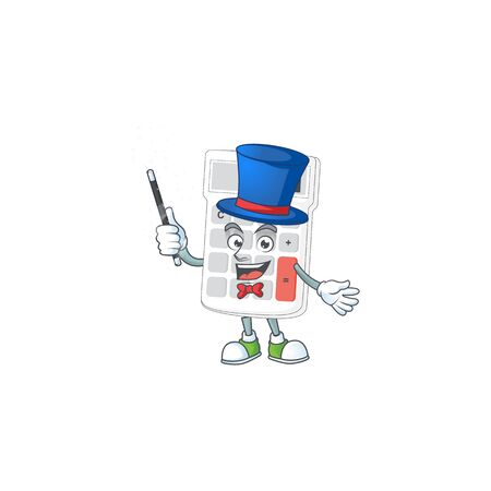 Magician white calculator cartoon character with mascot vector illustration