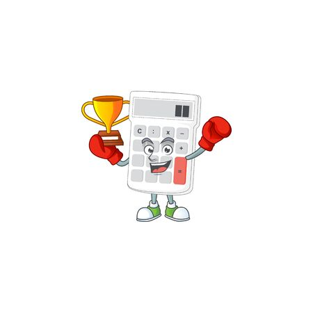 Boxing winner white calculator cartoon character with mascot vector illustration