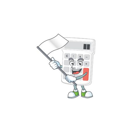 With flag white calculator cartoon character with mascot vector illustration Ilustrace