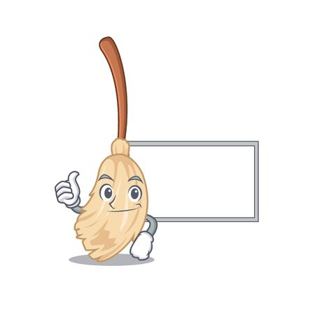 Thumbs up with board broom with in a the cartoon vector illustration