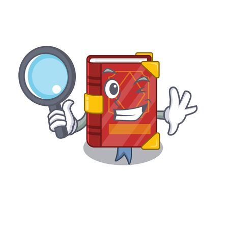 Detective magic spell book on cartoon rack vector illustration