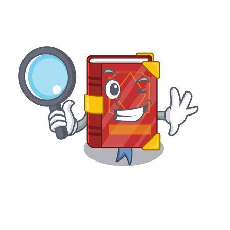 Detective magic spell book on cartoon rack vector illustration