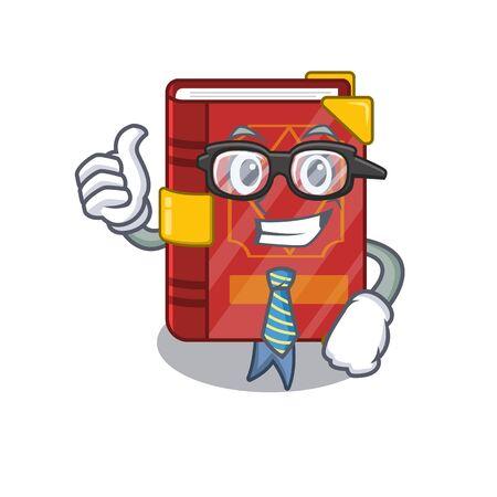 Businessman magic spell book on cartoon rack vector illustration