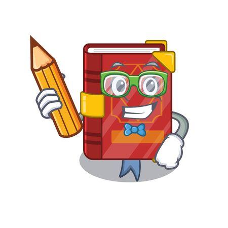 Student magic spell book on cartoon rack vector illustration