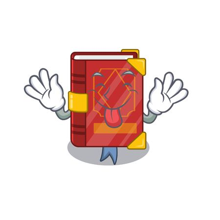 Tongue out magic spell book in shape mascot vector illustration