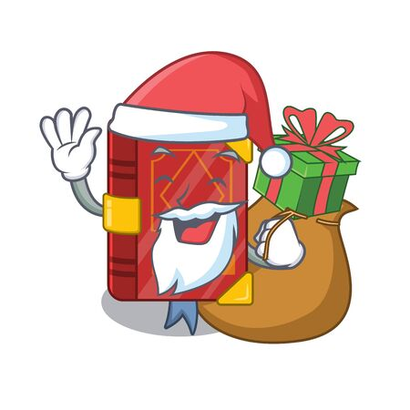 Santa with gift magic spell book in shape mascot vector illustration