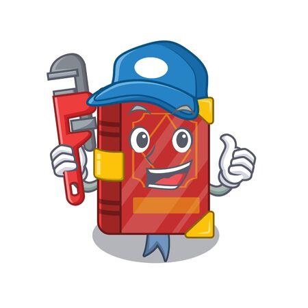 Plumber magic spell book in shape mascot vector illustration