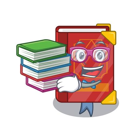 Student with book magic spell book in shape mascot vector illustration 向量圖像