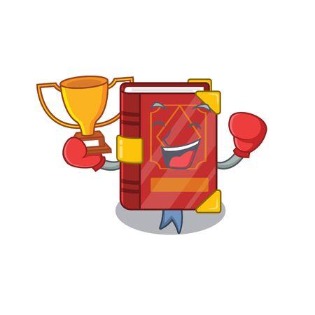 Boxing winner magic spell book in shape mascot vector illustration