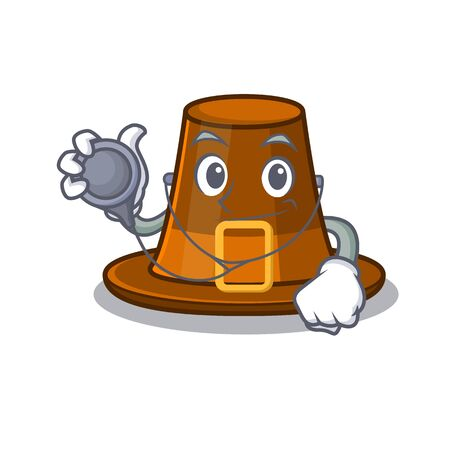 Doctor pilgrims hat in the mascot cupboard vector illustration