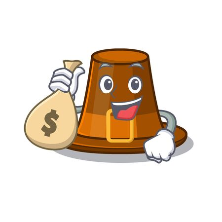 With money bag pilgrims hat in the mascot cupboard vector illustration