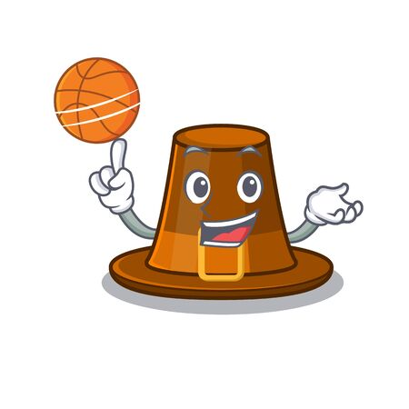 With basketball pilgrims hat in the mascot cupboard vector illustration Иллюстрация