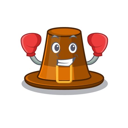 Boxing pilgrims hat in the mascot cupboard vector illustration