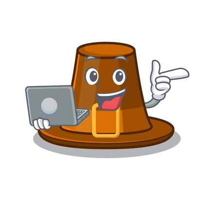 With laptop pilgrims hat in the mascot cupboard vector illustration