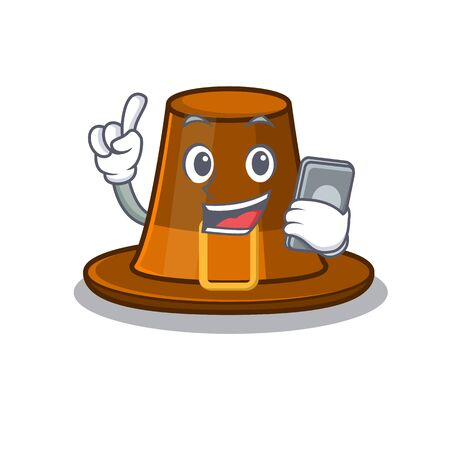 With phone pilgrims hat in the mascot cupboard vector illustration