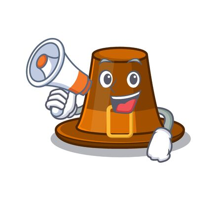 With megaphone pilgrims hat in the mascot cupboard vector illustration Иллюстрация