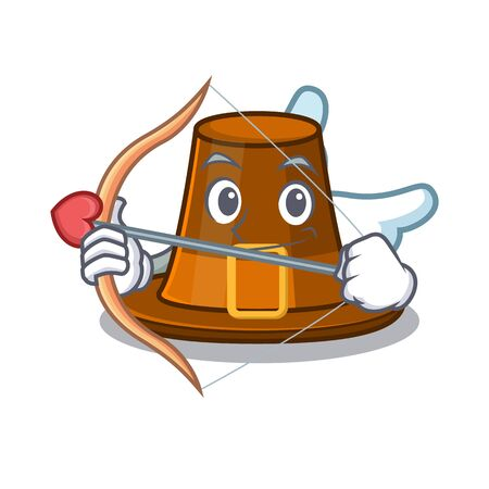 Cupid pilgrims hat in the mascot cupboard vector illustration