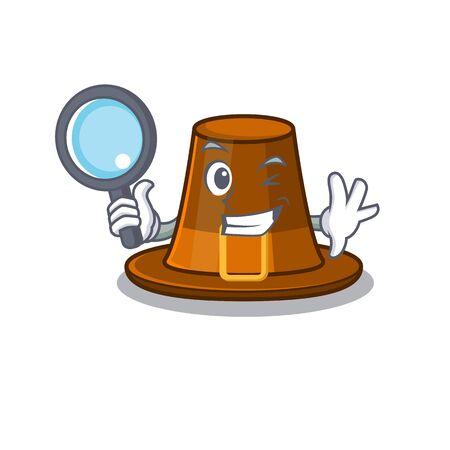Detective pilgrims hat isolated with the cartoon vector illustration Ilustração