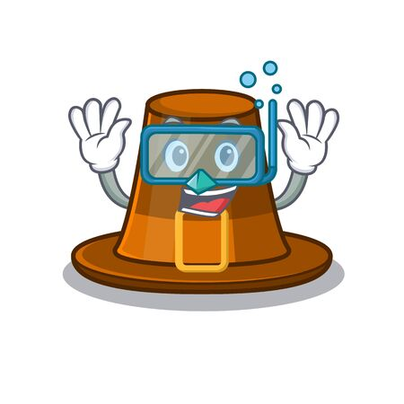 Diving pilgrims hat isolated with the cartoon vector illustration Çizim