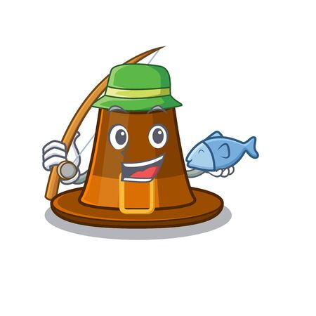 Fishing pilgrims hat in the character shape vector illustration Çizim