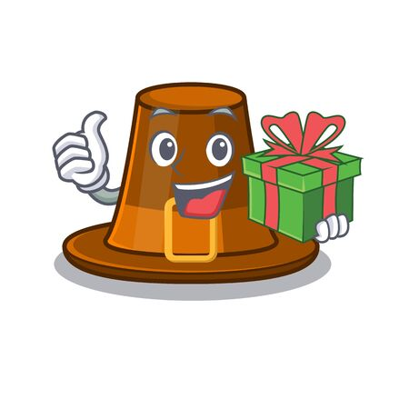 With gift pilgrims hat in the character shape vector illustration Иллюстрация