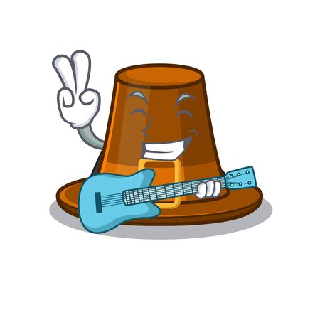 With guitar pilgrims hat in the character shape vector illustration