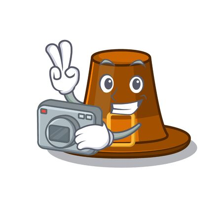 Photographer pilgrims hat in the character shape vector illustration