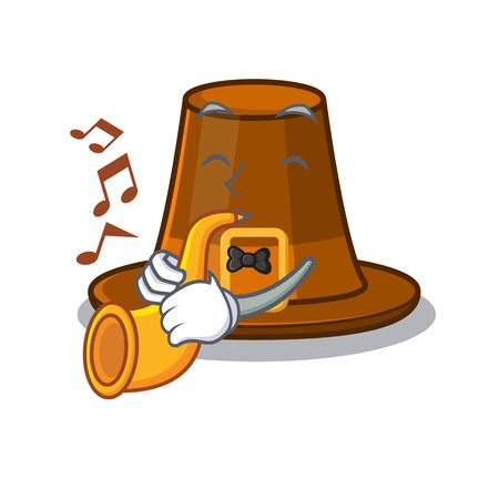 With trumpet pilgrims hat in the character shape vector illustration