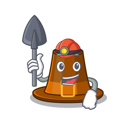 Miner pilgrims hat in the character shape vector illustration