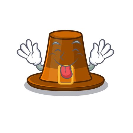 Tongue out pilgrim hat on a cartoon table vector illustration Иллюстрация