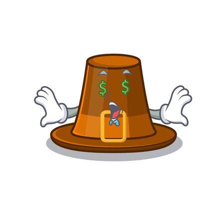 Money eye pilgrim hat on a cartoon table vector illustration