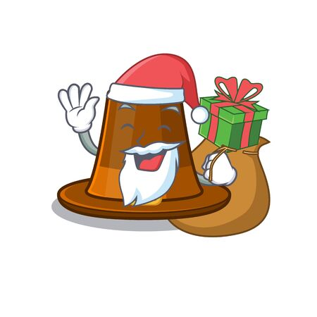 Santa with gift pilgrim hat on a cartoon table vector illustration