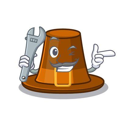 Mechanic pilgrim hat on a cartoon table vector illustration