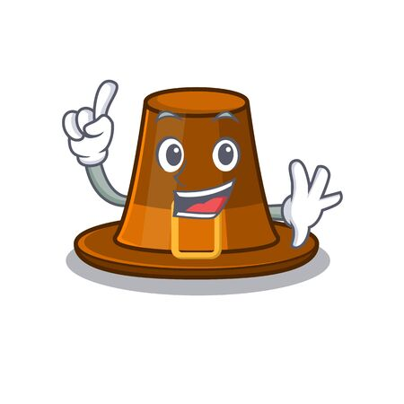 Finger pilgrim hat on a cartoon table vector illustration Ilustração