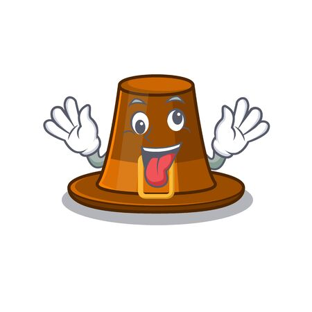 Crazy pilgrim hat on a cartoon table vector illustration
