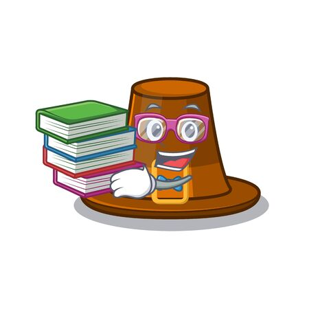 Student with book pilgrim hat on a cartoon table vector illustration Иллюстрация