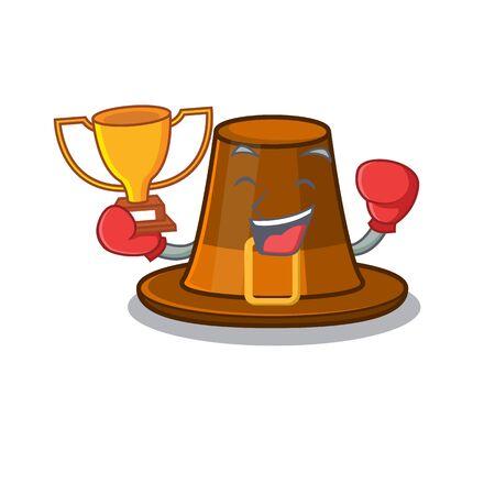 Boxing winner pilgrim hat on a cartoon table vector illustration