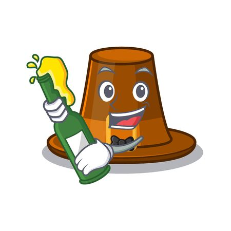 With beer pilgrim hat on a cartoon table vector illustration