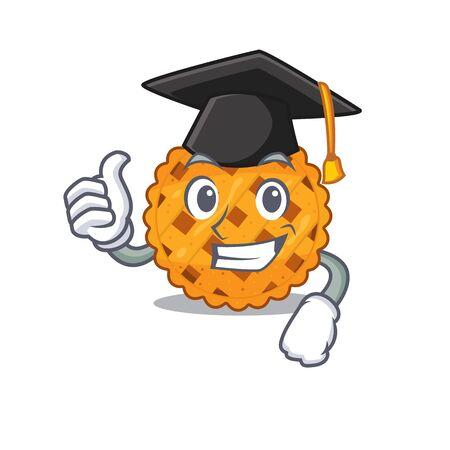 Graduation pumpkin pie in the cartoon shape vector illustration Ilustração