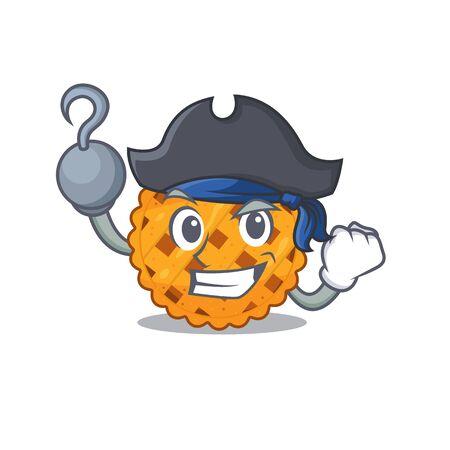 Pirate pumpkin pie served on cartoon plate vector illustration