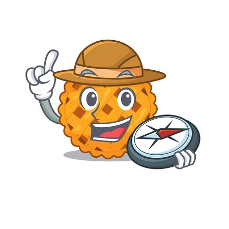 Explorer pumpkin pie isolated in the mascot vector illustration