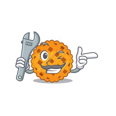 Mechanic pumpkin pie in a character jar vector illustration