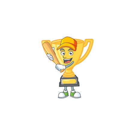 Playing baseball gold trophy cup for award prize. vector illustration
