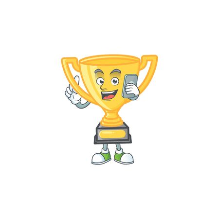 With phone gold trophy cup for award prize. vector illustration