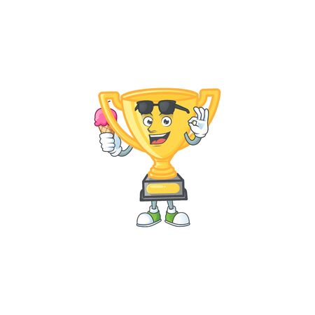 With ice cream gold trophy for victory achievement award. vector illustration