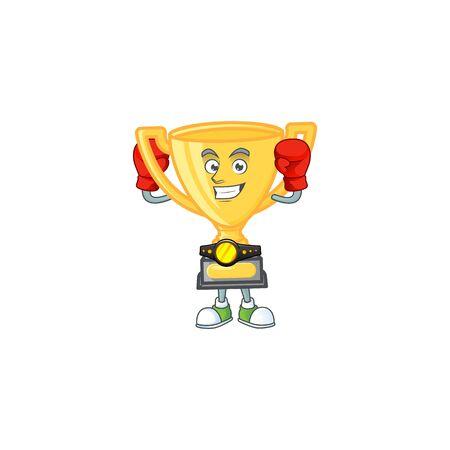 Boxing gold trophy cup for award prize. vector illustration Иллюстрация