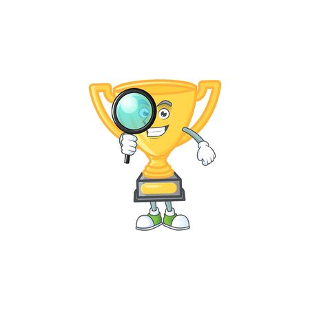 Detective gold trophy for victory achievement award.