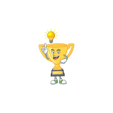 Have an idea cartoon gold trophy on white background. vector illustration