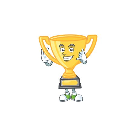 Call me cartoon gold trophy on white background. vector illustration
