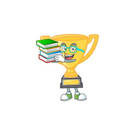 Student with book cartoon gold trophy on white background. vector illustration Иллюстрация